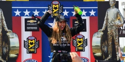 Top Fuel Dragster pilot Ashley Sanford is ready to rock in Top Fuel competition – if only the NHRA could help Alan Johnson Racing, among other teams, close the corporate deals.